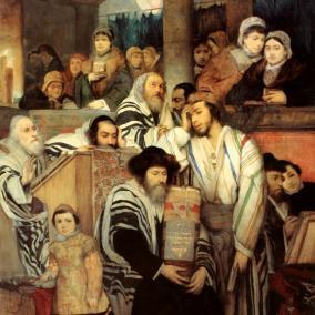 Żydzi modlący się w synagodze w Jom Kippur, (Maurycy Gottlieb, 1878)