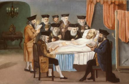 Czym jest śmierć i życie pozagrobowe - Żydowskie ABC, Na grafice: Członkowie Bractwa Pogrzebowego w Pradze modlą się przy łożu umierającego (ok. 1772), fot. Buchhändler, Prag, Jüdisches Museum