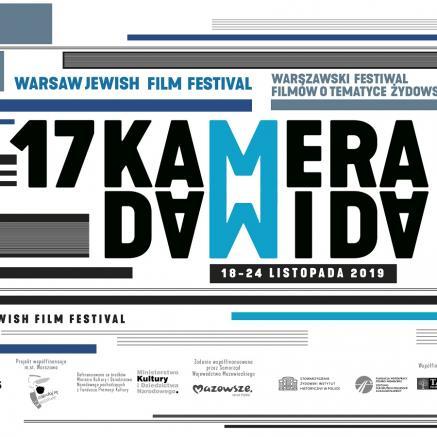 17 Warszawski Festiwal Filmów o Tematyce Żydowskiej (WJFF). Na grafice: na białym tle elementy graficzne w kolorach czarnym i niebieskim, napis: 17 Kamera Dawida