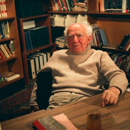 Ben-Gurion on the set of the 1968 Interview, Photo: Courtesy of David Marks