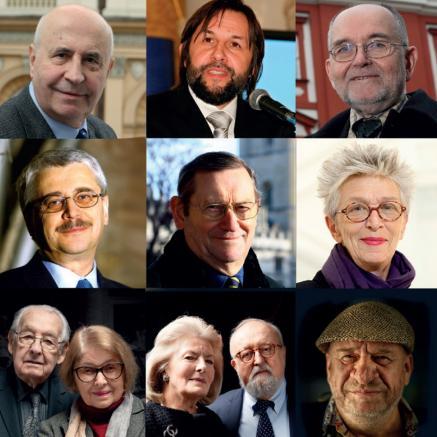 21 edycja Nagrody im. prof. Aleksandra Gieysztora - na grafice znajdują się zdjęcia portretowe dotychczasowych 20 laureatów Nagrody, ułożone w 4 rzędach i w 5 kolumnach.