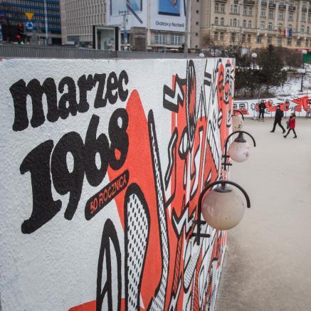Marzec '68, mural, A. Wieteszka, Warszawa