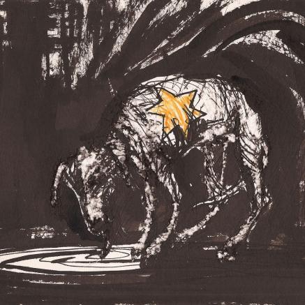 Krzysztof M. Bednarski, Żydom i psom, 1968, tusz i gwasz na papierze, dar autora