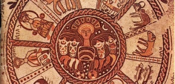 Żydowskie ABC, Muzeum POLIN. Na zdjęciu ozdobione mozaiką sklepienie synagogi Beit Alpha w Izraelu. Mozaika utrzymana w kolorystyce brązów i bieli.