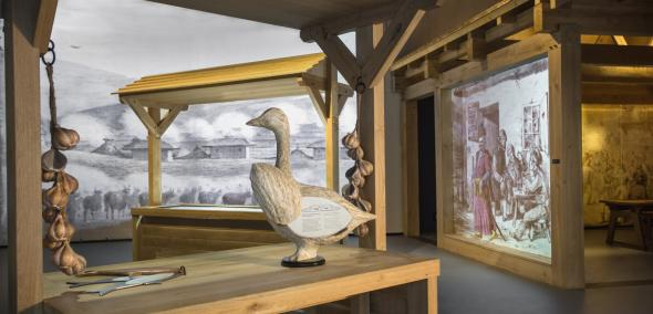 Galeria Miasteczko na wystawie Muzeum POLIN - dość ciemna przestrzeń, w której stoi stragan, na nim drewniana gęś i wianki drewnianych główek czosnków. W tle ekrany wyświetlające ryciny ze scenami z życia Żydów.