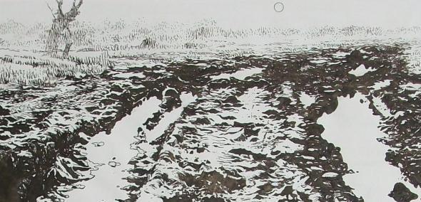Czarno-biały rysunek Krzysztofa Garwonkiewicza, odnoszący się do Zagłady Żydów