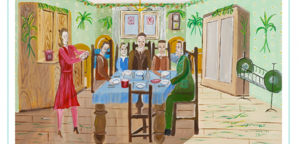Mayer Kirshenblatt (1916-2009) Shavuot in Opatów, 1920s. Acrylic on canvas, 1993, Collection of the Kirshenblatt family