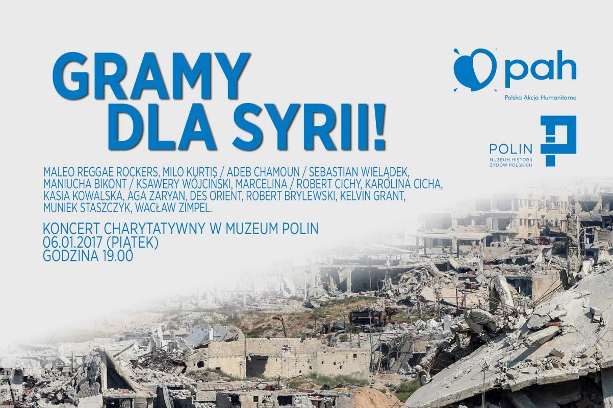 Gramy dla Syrii! Koncert charytatywny PAH i Muzeum POLIN