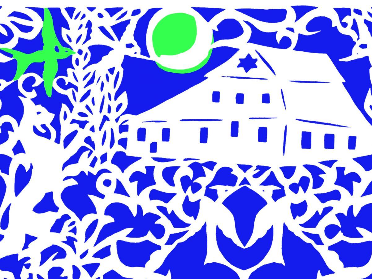 Pardes Festiwal 2019 - Kazimierz Dolny, 21-25 sierpnia 2019, grafika w kolorach niebieskim, białym i zielonym, przedstawiająca budynek synagogi w świetle księżyca | Patronat Muzeum POLIN