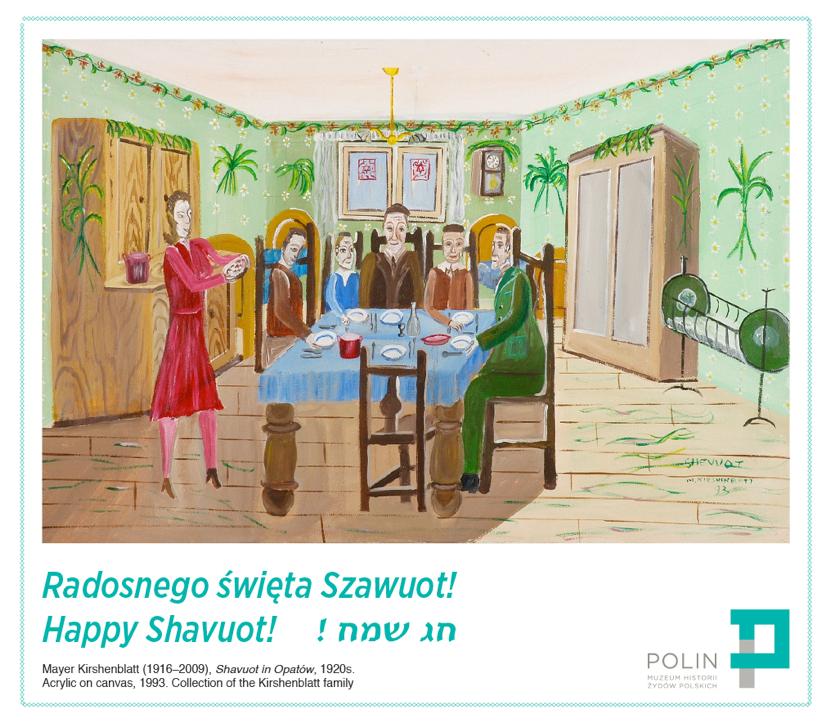 Mayer Kirshenblatt (1916-2009) Shavuot in Opatów, 1920s. Acrylic on canvas, 1993, Collection of the Kirshenblatt family
